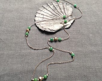Vintage silver and green stone necklace