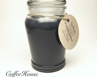 Black Coffee Scented Soy Candles Handmade 14oz, Scented Candles, Natural Candles, Woodwick Candles, Coffee Candles, Mason Jar Candles