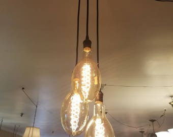 Custom Oversized Industrial  Style Edison Bulb Pendant Light Hanging Fixture.