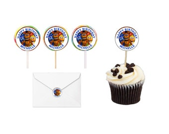 30 Five Nights At Freddy's Birthday Lollipop labels, Cupcake Toppers, Stickers, Favors, Labels, (Changes OK) FREE SHIPPING