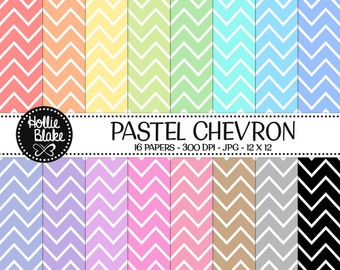 50% off SALE!! 16 Pastel Chevron Digital Paper • Rainbow Digital Paper • Commercial Use • Instant Download • #CHEVRON-101-2-P