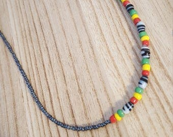 African Necklace, Beaded Necklace, African Inspired, Colourful, Short Necklace