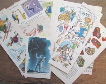 Children's Book Pages Hobbies and Sports Vintage Paper Ephemera Packet