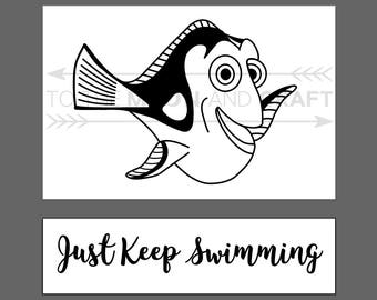 Custom Order: Just Keep Swimming - Dory Vinyl Decal - Finding Nemo Inspired