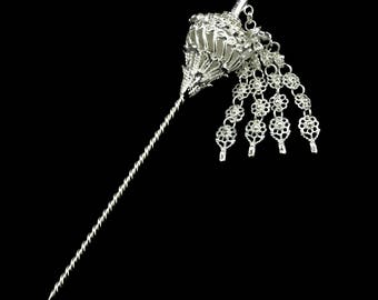Handmade Brass Hairpin Silver plated Thai Style for women
