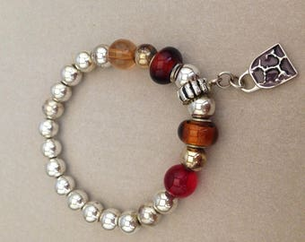 Vintage Silver and Glass Bead Purse Charm Bracelet