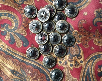 16 vintage metal trimmed buttons