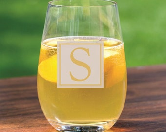 18 Personalized Stemless Wine Glasses - Wedding Gifts - Groomsman - Wedding Party -Bridal Shower - Engraved Gifts - Custom Etched Glassware