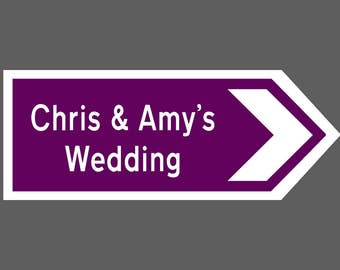 Mini Wedding Direction Sign 12x5 Inches Personalised just for you, choice of colour