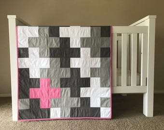 The Bunny: A modern grey, white and pink cross cot/crib quilt