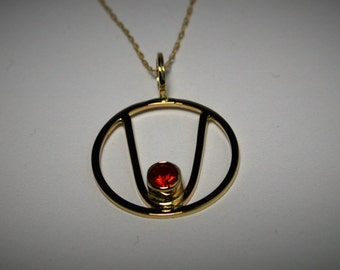 14k Parabola pendant with Fire Opal