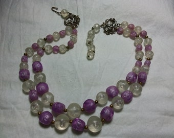 Vintage purple and opaque beaded two strand necklace.