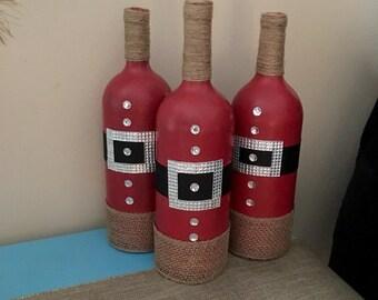 Christmas Wine Bottles, Christmas Home Decor, Santa Home Decor, Santa Wine Bottles, Christmas Decorations