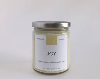 JOY essential oil soy wax intention candle