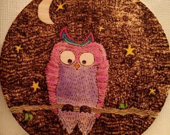 Owl, wood-burning, hand-drawn, water-colour, pyrography, night time, gift.
