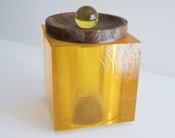 Rare Vintage Mid Century Modern Acrylic and Cork Ice Bucket