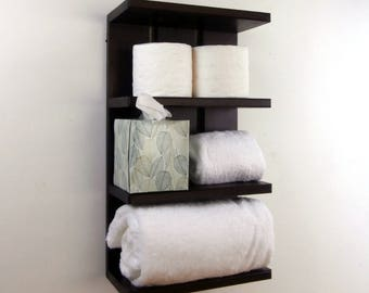Espresso Hotel Style Towel Racks – Open Black Wall Shelves for Towels – Above the Toilet Bathroom Storage – Expresso Bathroom Wall Shelves