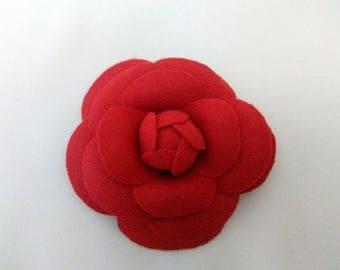 Camellia Brooch, Flower brooch, Fabric flower brooch, Red Flower, Red Camellia, Handmade Camelia, Chanel style, Wool Camellia