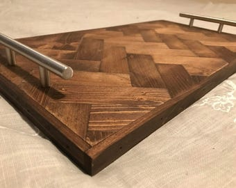Herringbone Pattern Serving Tray, Wood Serving Tray, Breakfast Tray, Bed Tray Table, Breakfast Bed Tray, Coffee Table Tray
