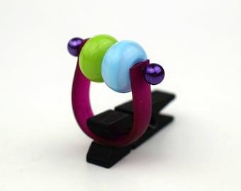Colorful ring. Contemporary jewelry. Bohemian ring. Fun design. Original gift. Summer jewelry. Minimalist jewelry. Exclusive Jewelery