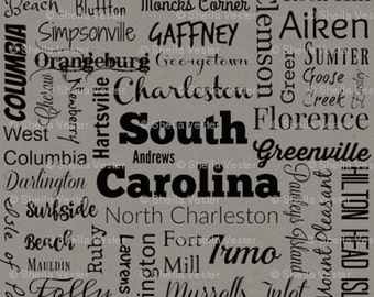 South Carolina Cities fabric - by the yard - teal and black - gray and black