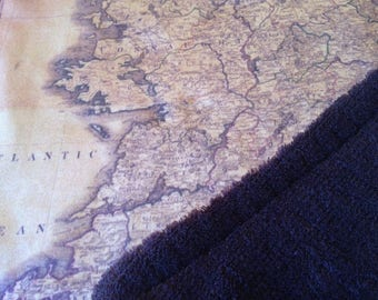 IRELAND map blanket - Irish baby minky security blankie - small travel blanky, lovie, lovey, woobie - 13 by 16 inches