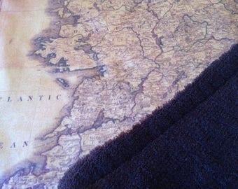 IRELAND map blanket - Irish baby minky security blankie - small travel blanky, lovie, lovey, woobie - 13 by 16 inches
