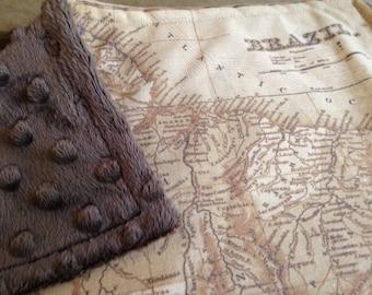 BRAZIL map blanket - Brazilian map baby minky security blankie - small travel blanky, lovie, lovey, woobie - 14 by 17 inches