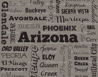 Arizona Cities fabric yardage - AZ typography fabric by the yard - gray and black - lime green and black- or light blue and black
