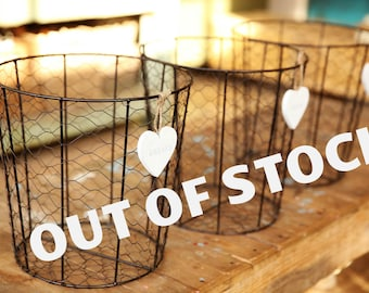 OUT OF STOCK, Wire Storage Basket, Metal Storage Bin, Rustic ndustrial Decor, Large Wire Basket, storage basket, Rustic Farm Basket