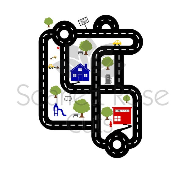 Father's Day SVG Cut File Road Map Shirt Car Racetrack