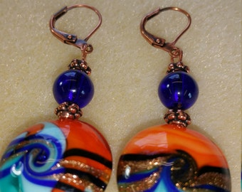Orang, Blue, Gold Copper Earrings