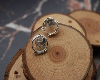 Silver 'Zephyr' melted circle butterfly stud earrings