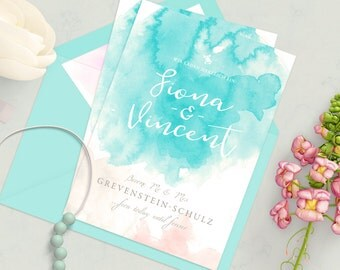 Wedding invitation | Vintage invitation | Pastel and watercolor look