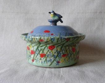 Handmade pottery butter dish. Blue tit butter dish. Meadow butter dish. Handmade sugar pot. Blue tit sugar pot.