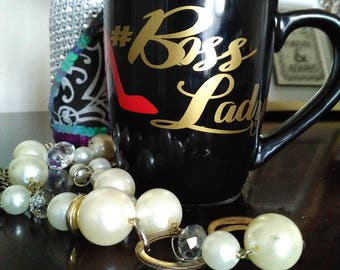 Hash Tag Boss Lady Mug, Monogrammed Mug, Gifts for Her