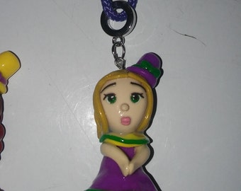 Clay Mardi Gras Girl Pendant on a Purple Rope Necklace