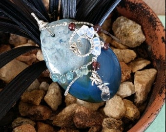 Blue Agate wirewrapped pendant