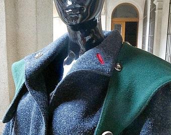 European Vintage Loden Coat, Size 12-14 (US),  Size 16-18 (UK), Tofana Women's Wool Coat, Winter Coat Women, Gray Coat, Sherlock Holmes Coat