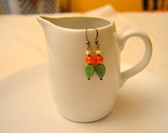 Cute Colorful Leaf Dangle Earrings (Green, Orange, White)