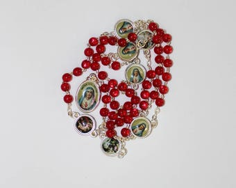 Servite Rosary Our Lady Of The Seven Sorrows Red Beads Mater Dolorosa Chaplet of Seven Sorrows Handmade