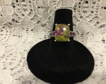 Tasmanian Stitchtite and Amethyst Ring