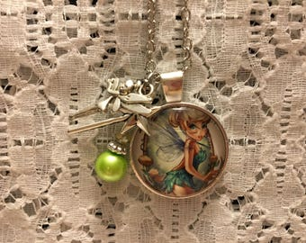 Tinkerbell Charm Necklace/Tinkerbell/Tinkerbell Jewelry/Tinkerbell Pendant/I Love Tinkerbell/Disney Jewelry