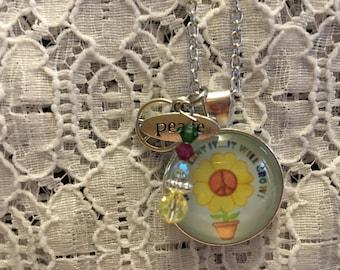 Peace Flower Charm Necklace/Peace Jewelry/Peace Charm Jewelry/Peace Necklace/Peace Pendant/Peace Charm Pendant