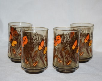 """Vintage 1970s Butterfly drinking glasses Set of 4 Smokey glass 3 3/4"""" tall"""