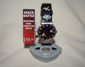 Star wars Episode 1 Space battle rotating disk character wrist watch Anikan skywalker with stand
