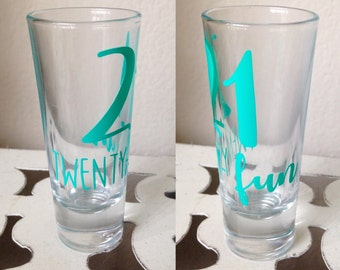 21 twenty-fun shooter // 21st birthday // twenty first birthday // 21 birthday // gift // shot glass // shooter