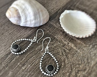 Teardrop Earrings,  Onyx Earrings, Simple Earrings, Boho Earrings, Minimalist Earrings, Gift for her, Silver Earrings, Silver Jewelry