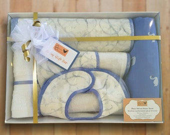 Baby Shower Gift Set Elegant Blue Change Mat Bib Burp Cloth Muslin Wrap Face Towel Swan Swirls