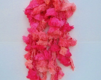 Pink Fringed Ruffle Scarf